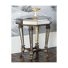 Ambella Sergio Mirrored Accent Table ($1,799) ❤ liked on Polyvore featuring home, furniture, tables, accent tables, antique mirror, handcrafted furniture, eglomise furniture, ambella home furniture, mirrored table and hand made furniture