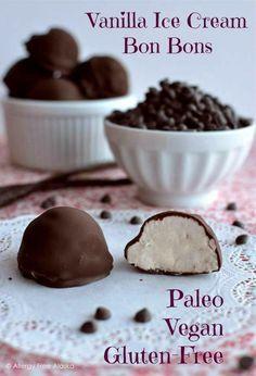 Chocolate Covered Vanilla Ice Cream Bon Bons!   Paleo, vegan, gluten free, nut free & low sugar