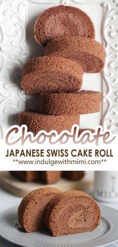 Chocolate Terrine, Chocolate Roll Cake, Chocolate Desserts, Swiss Roll Cakes, Swiss Cake, Japanese Cake, Japanese Style, Japanese Desserts, Asian Desserts