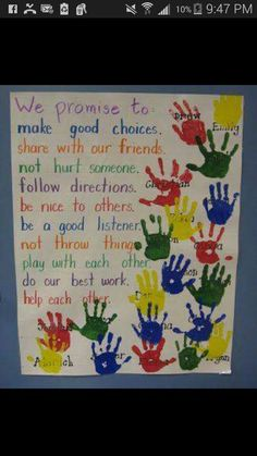 """Teacher Discover Constitution Day Activities Our Promise To Each Other - Social Contract. To make it official students put their """"I promise"""" hand print on the poster. Older students could also sign their hand. 1st Day Of School, Beginning Of The School Year, School Play, Middle School, Art School, Sunday School, High School, Kindergarten Anchor Charts, Kindergarten Classroom Rules"""