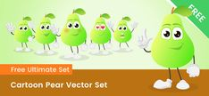 A Free Cartoon Pear character made in a set of 6 poses. This cartoon pear is available as vector Ai and a transparent PNG. Free Vector Clipart, Free Cartoons, Clip Art, Pictures