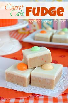 Carrot Cake Fudge from http://www.insidebrucrewlife.com - carrot cake batter fudge topped with cream cheese fudge