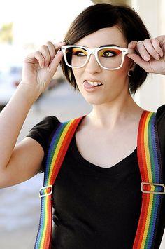 Rainbow suspenders and eye makeup