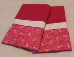 Handmade Flannel Cancer Ribbon Pillowcase Full/Standard SET by Fabricatedwithlove on Etsy