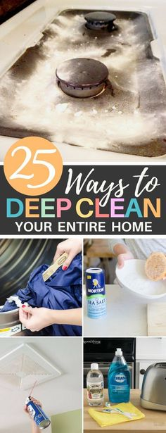 These 25 Deep Cleaning Hacks Will Show You How to Clean Your Entire Home Kitchen Tips Tricks Bathroom Cleaning Deep Cleaning Tips, House Cleaning Tips, Spring Cleaning, Cleaning Hacks, Green Cleaning, Cleaning Solutions, Toilet Cleaning, Bathroom Cleaning, Kitchen Cleaning
