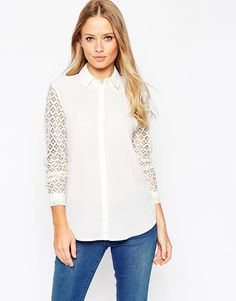 ASOS Blouse With Lace Sleeves