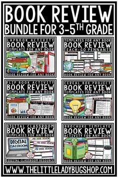 You will love this Book Review Template Bundle! It includes all the favorite book reviews in my shop! Book Review Lapbook for ANY text or Book, Teach-Go Pennants, Flip Booklet, Cereal Box Project, Brochure Template and Digital Book Review Templates for Google Slides. These book report templates are perfect for 3rd grade, 4th grade, 5th grade and home school students. #bookreviewtemplates #bookreportprojects