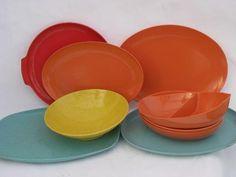 retro vintage melmac dishes serving bowls \u0026 platters beachy colors turquoise \u0026 coral & 1950\u0027s Melmac Retro Bubblegum Pink Boontonware Dishes Pink Melamine ...