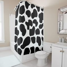 Black White Cow Print Rustic Farm Shower Curtain Zazzle Com