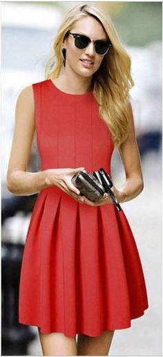 Street Style Fashion! Classix Chic Red Round Neck Sleeveless Cotton Blend Dress Fall Fashion #Red #Dress #Fashion #Classic #Fall  #Fashion #Trends