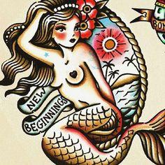 traditional mermaid tattoo - Google Search