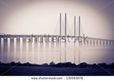 """The bridge, oresundsbron, between Denmark and Sweden. Also recording location for the Scandinavian global TV-series """"The Bridge"""". Here from the Swedish side."""