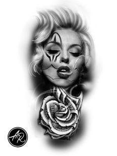 Chicano Art Tattoos, Chicano Drawings, Gangsta Tattoos, Sexy Tattoos, Sleeve Tattoos, Unique Tattoos, Body Art Tattoos, Girl Tattoos, Catrina Tattoo