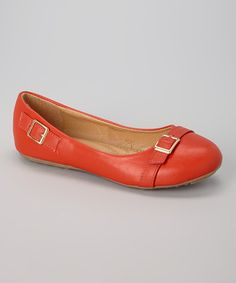 Look what I found on #zulily! Red Buckle-Accent Flat by Tory Klein #zulilyfinds