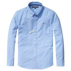 Klassisches Tommy Hilfiger Oxford-Langarmhemd mit Button-Down-Kragen, Logostitching auf der Brust und kontrastfarbenem Knopfloch.100% Baumwolle...