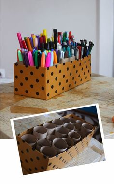 Clever: turn empty toilet paper rolls and a shoe box into a storage caddy! Perfect for kids art supplies… Clever: turn empty toilet paper rolls and a shoe box into… Organisation Hacks, Classroom Organization, Organizing Ideas, Craft Organization, Desktop Organization, Stationary Organization, Organizing Art Supplies, College Dorm Organization, Classroom Desk Tidy