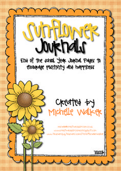 "Sunflower Journals: End of Year Journal Pages Freebie! Teach your students to find ""gratitude moments"" in everyday life."