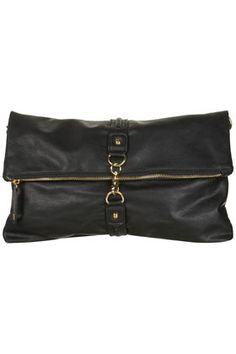 BLACK CLIP FRONT CLUTCH BAG $56.00