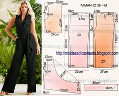 The degree of difficulty of sewing is low. Make the mold and cut paper overalls. Dress Sewing Patterns, Sewing Patterns Free, Sewing Tutorials, Clothing Patterns, Sewing Pants, Sewing Clothes, Jumpsuit Pattern, Pants Pattern, Fashion Sewing