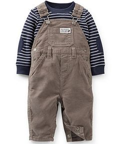 Carter's Baby Boys' 2-Piece Striped Shirt & Overalls Set