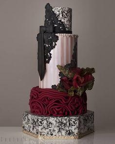 40 unique black wedding cakes design and ideas page 39 of 49 hertsy wedding ? Gothic Wedding Cake, Gothic Cake, Burgundy Wedding Cake, Luxury Wedding Cake, Black Wedding Cakes, Wedding Black, Damask Wedding Cakes, Damask Cake, Fruit Wedding Cake