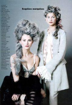 ELLE, France, 1994 - Lolita Lempicka Couture, Corinne Cobson, Christian Lacroix, Alexandra de Gastines, Le Garage - 18thC inspired Fashion oui!