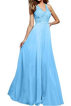 Ivydressing Aline Vneck Lace Prom Evening Long Dresses Party Formal Gowns18WSky Blue * Click for Special Deals #HomecomingDresses2017