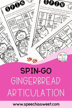 Gingerbread articulation activity perfect for the holiday season! Spin-go is a fun and interactive game that I created for articulation therapy! These articulation games are NO PREP and are great for mixed groups in speech therapy. Your speech therapy students will enjoy this activity! | Speech is Sweet Articulation Therapy, Articulation Activities, Speech Therapy Activities, Speech Language Therapy, Speech And Language, Christmas Speech Therapy, Therapy Ideas, Spinning, Literacy