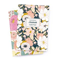Notebook Set: Principessa + Dark Floral  by Paper Raven Co. 48 Lined Pages on Recycled Paper.