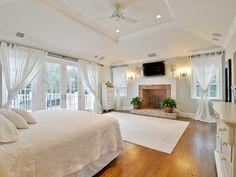 White bedroom love those drapes!