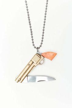 Cartography Brass Gun Knife Necklace