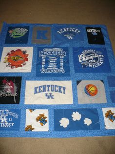 Kentucky UK Wildcat TShirt Quilt. Love to get Mom to help me make Ethan one. He has tons of Uk t-shirts!!