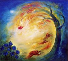 David Boyd, Europas daughter diving from the tree of fire into a blue rose bush with animals in flight - 2003, Oil on Canvas, 84 x 91cm