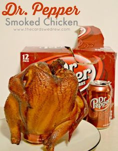 The most delicious, tender smoked chicken recipe...can be made on a grill too! Dr. Pepper Smoked Chicken - The Cards We Drew #BackyardBash #shop