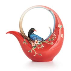 Franz Porcelain Joyful Magpie Teapot, Red