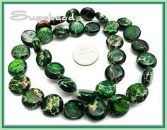 1 Strand -Forest Green Sea Sediment Jasper coin beads 12mm
