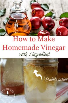 Learn how to make fruit vinegar from scratch with just 1 ingredient! Once you see how easy, and delicious, it is to make without any special equipment, you'll never go back to store-bought. #fermenting #fromscratch #DIY Raw Food Recipes, Jar Recipes, Freezer Recipes, Freezer Cooking, Drink Recipes, Gourmet Recipes, Do It Yourself Inspiration
