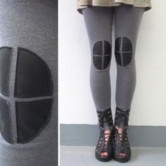 Knee Patch Leggings Grey by iheartnorwegianwood on Etsy Hip Problems, Killer Legs, Tights, Leggings, Moon Design, Clothes Crafts, Keep Warm, Sock Shoes, Refashion
