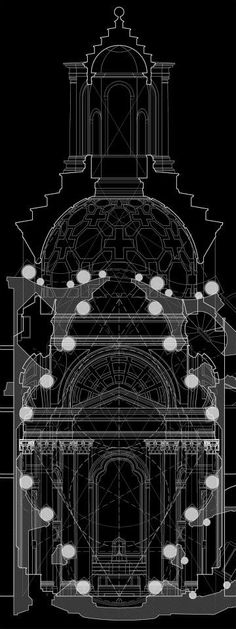 Composite drawing.  Plan and section study of proportions and geometries.  Part of my ongoing study of Borromini's San Carlo alle Quattro Fontane.
