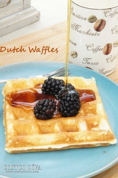 For some reason our girls have been particularly demanding with their breakfast requests of late. I think they are getting spoiled! :) This morning they wanted Belgian waffles, but those take quite some time to prepare. So we went with our faster waffle option, these Dutch Waffles the recipe for which I've adapted from the Polish blog Mojewypieki.com