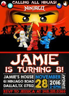 Lego Ninjago Birthday Invitation : Lego by DigitalFactoryArt
