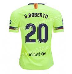 2018-19 Barcelona Away Fluorescent Green  20 (S.ROBERTO) Thailand Soccer  Jersey AAA 35c362cea