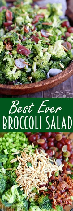 Best Ever Broccoli Salad recipe is bursting with flavor! Packed full of broccoli, bacon, grapes, almonds and more - every bite is delicious! The perfect addition to any BBQ, party, or potluck! // Mom On Timeout #broccoli #salad #grapes #almonds #bacon #recipe #summer #BBQ #potluck #easy