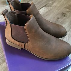 Madden girl brown slip on ankle boots Used as store displays and in great condition! Comes with box Madden Girl Shoes Ankle Boots & Booties