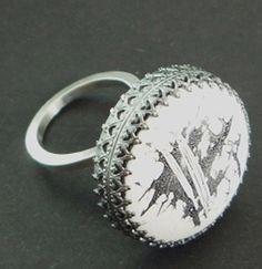 DEBORAH FORREST-UK  Ring Silver, vitreous enamel, copper 3.5 x 2.5 cm