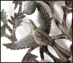 """Birds in Tree of Life - Haitian Metal Drum Art - Metal Sculpture - 24"""""""