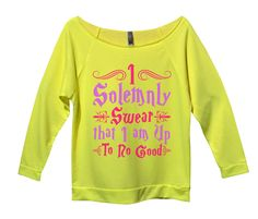 I Solemnly Swear That I Am Up To No Good Womens 3/4 Long Sleeve Vintage Raw Edge Shirt