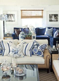 Blue And White Coastal Living Room Decor