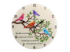 Items similar to Birds Wall Clock, Personalized Birthday Gift for Husband, Hand Painted Glass Clock on Etsy Silver Wall Decor, Blue Wall Decor, Silver Walls, Modern Office Decor, Office Wall Decor, Wall Clock Hands, Clock For Kids, Birthday Gifts For Husband, Modern Clock