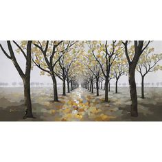 """Yosemite Home Decor Revealed Artwork Pathway Original Painting on Wrapped Canvas. 27.5"""" H x 55.25"""" W x 1.5"""" D. The path is strokes of gold, raw sienna, taupe, and brown making the path appear bright. gray strokes on both the sides of the path. pale gray trees in the far-away distance, lining the horizon under a foggy sky. Has some green that blends into the scene as golds, yellow, brown and grey hues are so dominant. the oranges are more copper and gold toned, the blues are muted and the…"""